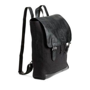 H&M black canvas leather backpack messenger unisex